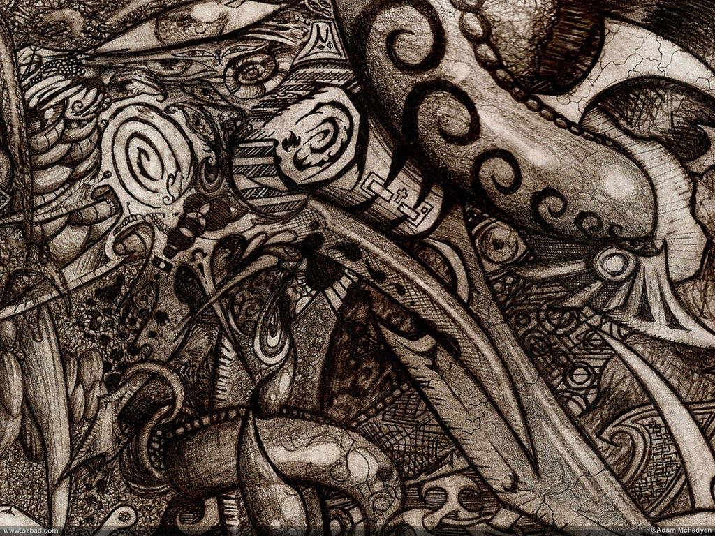 Modern-Triptych Dark Psychedelic Sketch