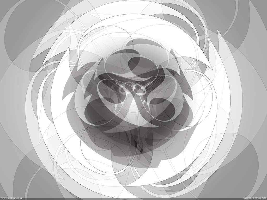 Orbital-Flow Soft Radial Black and White Art