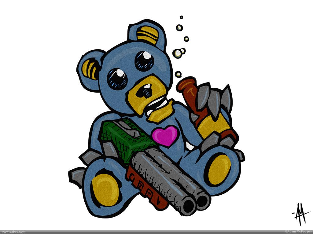 Drunken Teddy Bear With Shotgun
