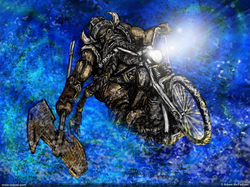 RIP Dargrak - A Viking Riding a Motorcycle Through a Storm