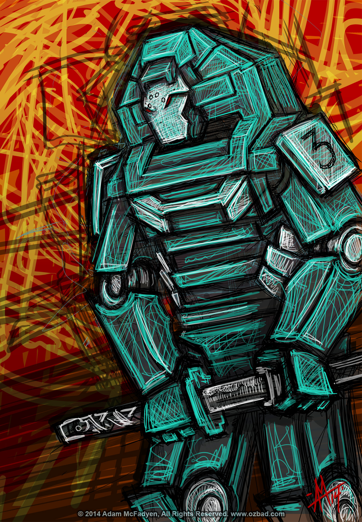 Cobra Samuari Robot Digital Sketch