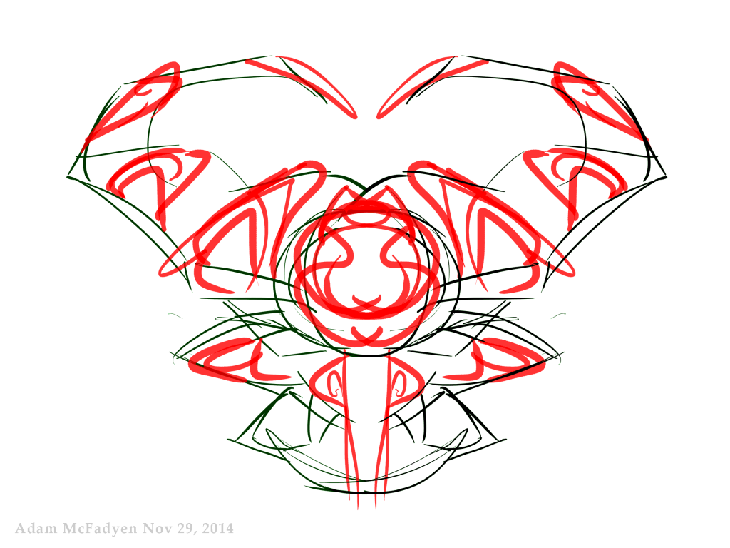 Tribal Bull Glyph Symmetrical Pen-Tablet Art