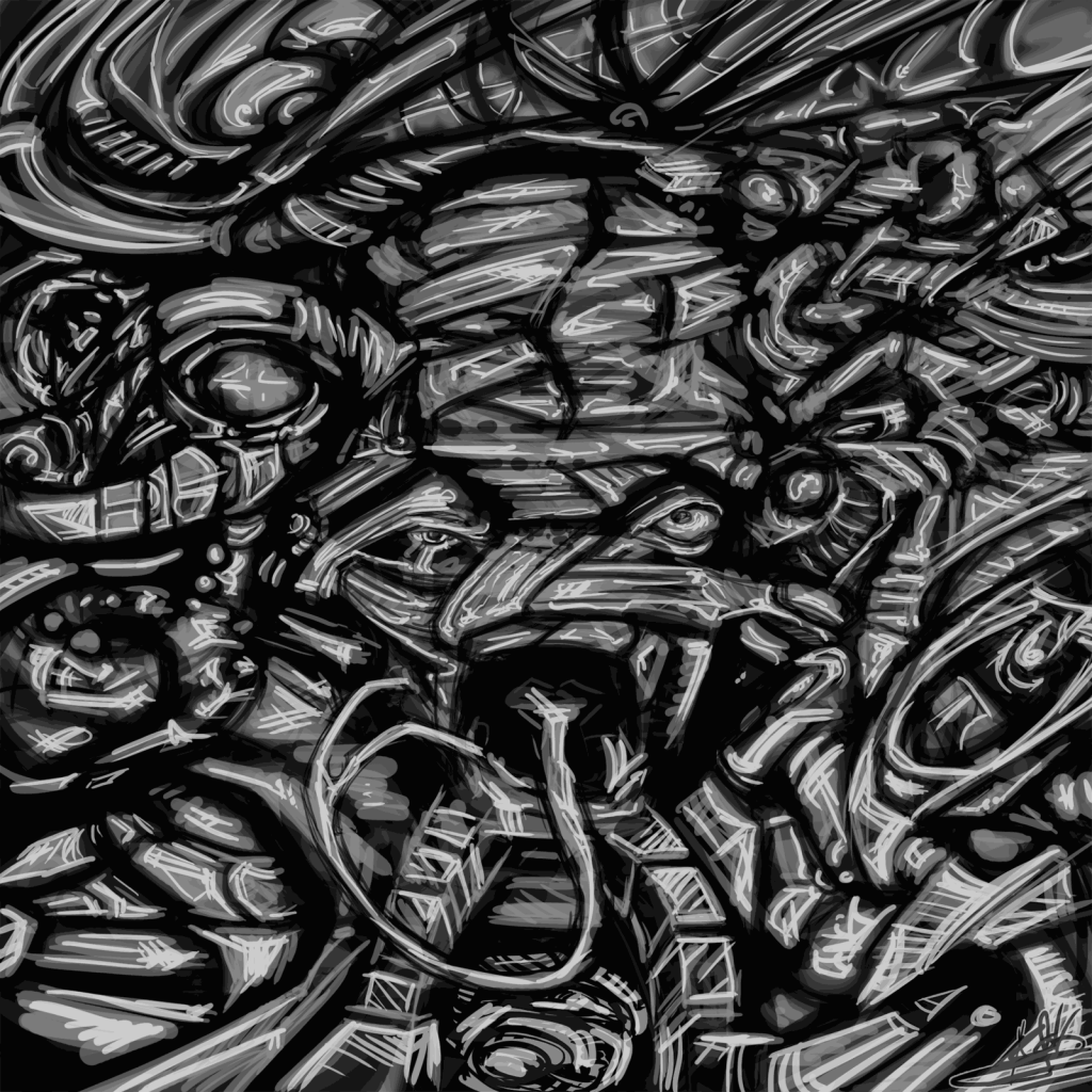 Black & White Dark Abstract Graffiti Digital Art
